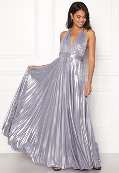 Goddiva Deep V Neck Metallic Dress Lavender Bubbleroom.eu