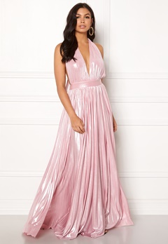 Goddiva Deep V Neck Metallic Dress Pink Bubbleroom.eu