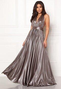 Goddiva Deep V Neck Metallic Dress Silver Bubbleroom.eu