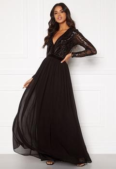 Goddiva Deep V Sequin Maxi Dress Black Bubbleroom.eu