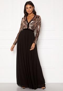 Goddiva Deep V Sequin Maxi Dress Champagne Bubbleroom.eu