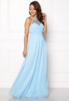 Goddiva Embellished Chiffon Maxi Powder Blue Bubbleroom.eu