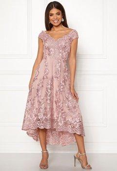 Goddiva Embroidered Lace Dress Blush Bubbleroom.eu