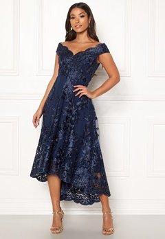 Goddiva Embroidered Lace Dress Navy Bubbleroom.eu