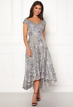 Goddiva Embroidered Lace Dress Silver Bubbleroom.eu