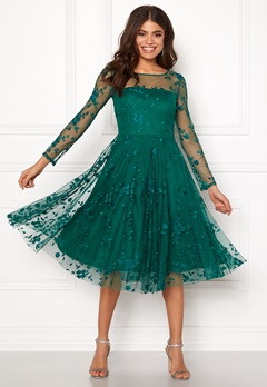 Goddiva Embroidered Midi Dress Emerald Bubbleroom.eu