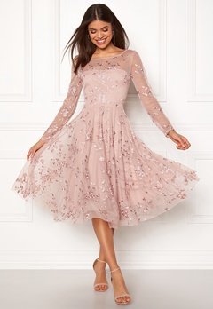 Goddiva Embroidered Midi Dress Misty Rose Bubbleroom.eu