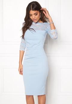 Goddiva Fitted Midi Dress Powder Blue Bubbleroom.eu