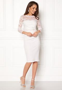 Goddiva Fitted Midi Dress White Bubbleroom.eu