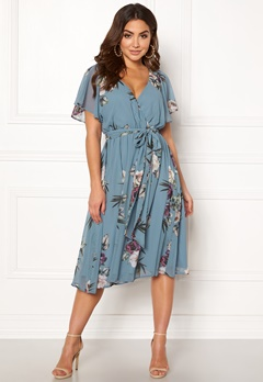 Goddiva Floral Flutter Midi Dress Air force Blue Bubbleroom.eu