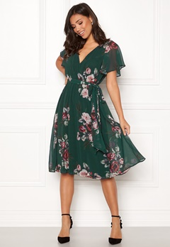 Goddiva Floral Flutter Midi Dress Green Bubbleroom.eu