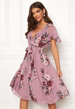 Goddiva Floral Flutter Midi Dress Lavender Bubbleroom.eu