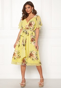 Goddiva Floral Flutter Midi Dress Soft Lemon Bubbleroom.eu