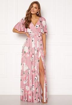 Goddiva Floral Flutter Sleeve Maxi Dress Blush Bubbleroom.eu