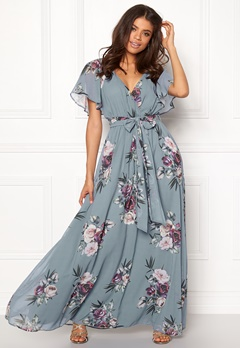 Goddiva Floral Sleeve Maxi Dress Air Force Blue Bubbleroom.eu