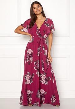 Goddiva Floral Sleeve Maxi Dress Berry Bubbleroom.eu