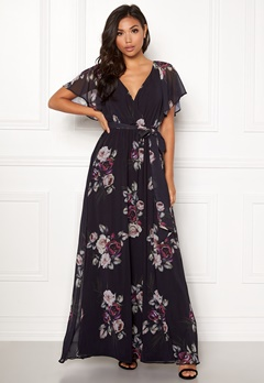 Goddiva Floral Sleeve Maxi Dress Black Floral Bubbleroom.eu