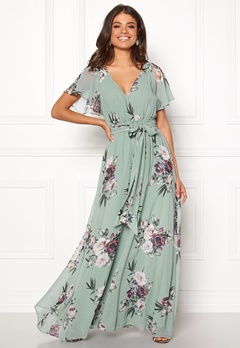 Goddiva Floral Sleeve Maxi Dress Duck Egg Bubbleroom.eu