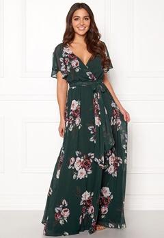 Goddiva Floral Sleeve Maxi Dress Green Bubbleroom.eu