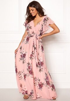 Goddiva Floral Sleeve Maxi Dress Peach Bubbleroom.eu