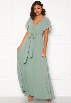 Goddiva Flutter Chiffon Dress Sage Green Bubbleroom.eu