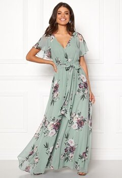 Goddiva Flutter Floral Maxi Dress Duck Egg Bubbleroom.eu
