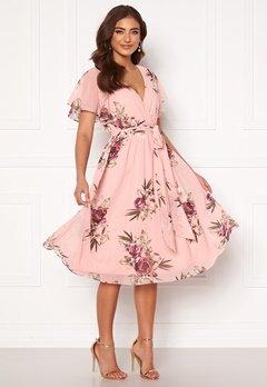 Goddiva Flutter Floral Midi Dress Peach Bubbleroom.eu