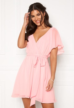 Goddiva Flutter Skater Dress Soft Pink Bubbleroom.eu