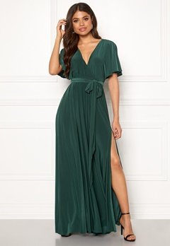 Goddiva Flutter Sleeve Maxi Dress Botanical Green Bubbleroom.eu