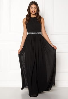 Goddiva Halter Neck Chiffon Dress Black Bubbleroom.eu