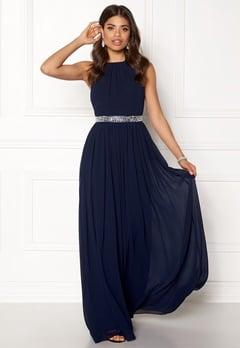 Goddiva Halter Neck Chiffon Dress Navy Bubbleroom.eu