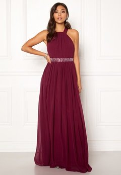 Goddiva Halterneck Chiffon Maxi Dress Berry Bubbleroom.eu