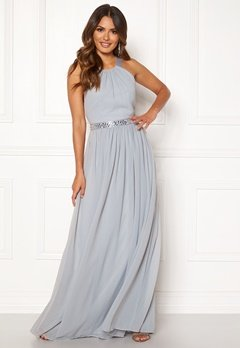 Goddiva Halterneck Chiffon Maxi Dress Grey Bubbleroom.eu