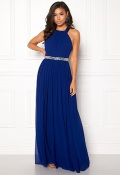 Goddiva Halterneck Chiffon Maxi Dress Royal Bubbleroom.eu