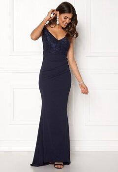 Goddiva Lace Pleated Maxi Dress Navy Bubbleroom.eu