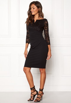 Goddiva Lace Top Midi Dress Black Bubbleroom.eu