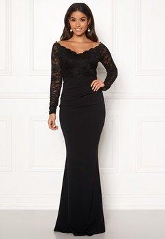 Goddiva Lace Trim Maxi Dress Black Bubbleroom.eu