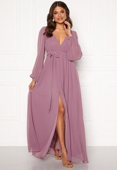 Goddiva Long Sleeve Chiffon Dress Dusty Lavendel Bubbleroom.eu