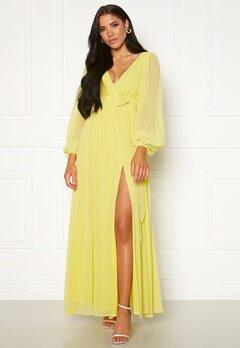 Goddiva Long Sleeve Chiffon Dress Lemon Bubbleroom.eu
