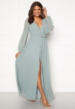 Goddiva Long Sleeve Chiffon Dress Sage Green Bubbleroom.eu