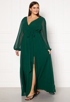 Goddiva Long Sleeve Chiffon Maxi Curve Dress Green Bubbleroom.eu