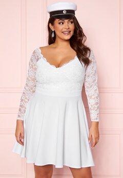 Goddiva Long Sleeve Lace Trim Skater Curve Dress White Bubbleroom.eu