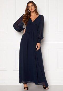 Goddiva Long Sleeve Shirred Maxi Dress Navy Bubbleroom.eu