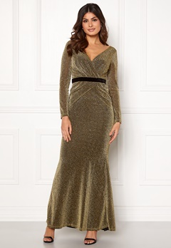 Goddiva Lurex Crossover Dress Gold Bubbleroom.eu