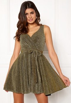 Goddiva Lurex Skater Dress Gold Bubbleroom.eu