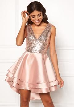 Goddiva Multi Layered Satin Dress Champagne Bubbleroom.eu