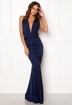 Goddiva Multi Tie Fishtail Dress Navy Bubbleroom.eu
