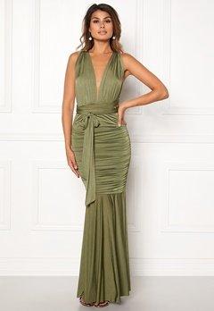 Goddiva Multi Tie Fishtail Dress Olive Bubbleroom.eu