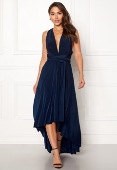 Goddiva Multi Tie High Low Dress Navy Bubbleroom.eu