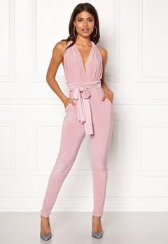 Goddiva Multi Tie Jumpsuit Dusty Pink Bubbleroom.eu